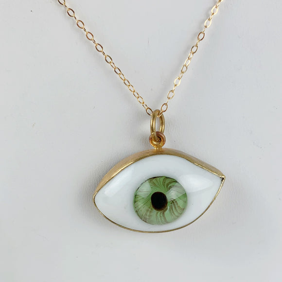 Glass Eye Necklace Large Green