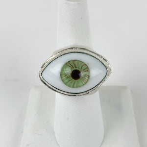 Glass Eye Ring Large Green Silver Plated