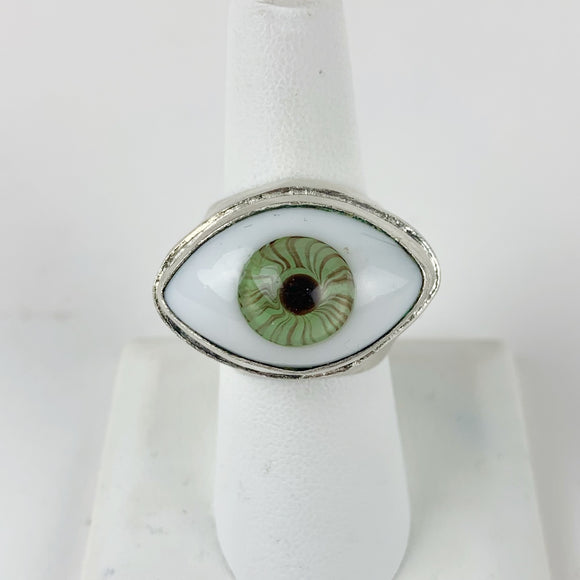 Glass Eye Ring Large Blue Silver Plated
