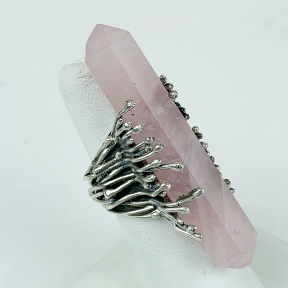 Double Terminated Rose Quartz Sterling Ring