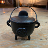 Black Cast Iron Pentacle Cauldron 5""
