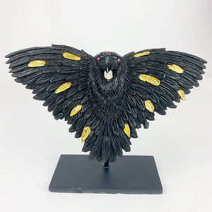 Mercurious Jet Carved Three Eyed Raven Star Ruby