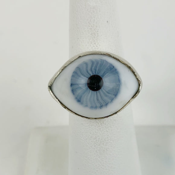 Glass Eye Sliver Plate Brass Ring Blue