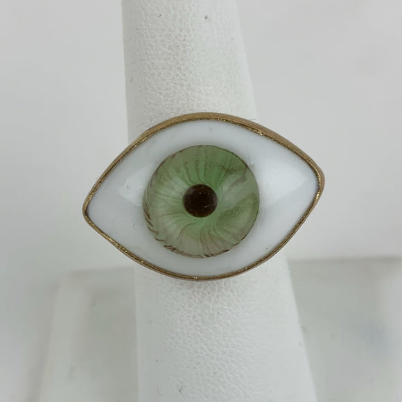 Glass Eye Ring Brass Green