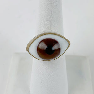 Glass Eye Brass Ring Brass Setting Brown