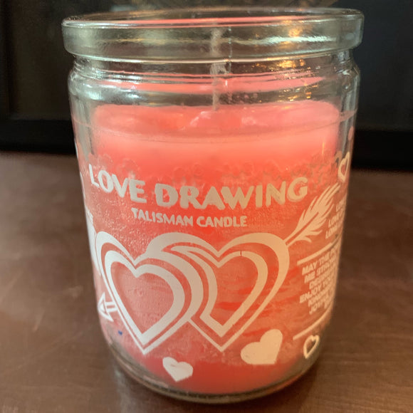 Love Drawing Pink Small Candle