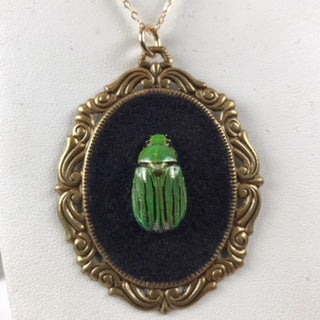 Loved To Death Victorian Inspired Cameo Genuine Striped Jewel Beetle Necklace