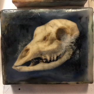 { Ester } Encaustic Painted Print on Wood Ransom & Mitchell Deer Skull