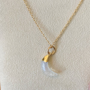Moonstone Mini Crescent Moon Necklace Sterling or Gold Filled