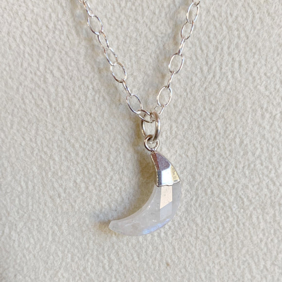 Moonstone Mini Crescent Moon Necklace Sterling