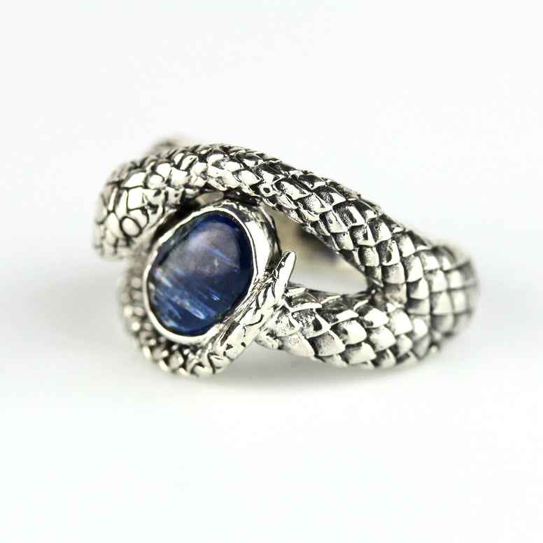 Coiled Snake Blue Kyanite Sterling Ring