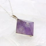 Amethyst Pyramid Sterling Necklace