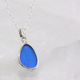 Blue Morpho Wing Sterling Necklace Small