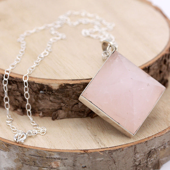 Rose Quartz Crystal Point Pyramid Sterling Necklace