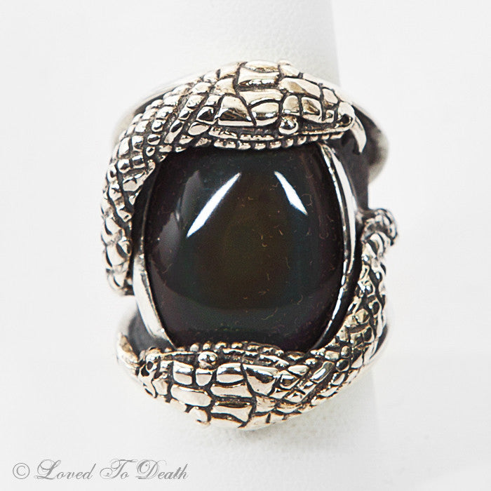 Sterling Snake Ring Rainbow Obsidian
