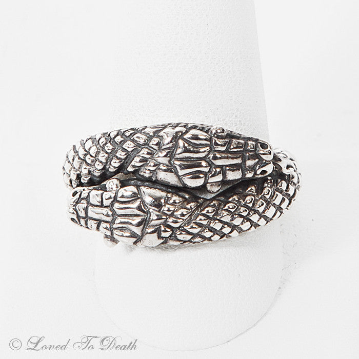 Two Headed Sterling Snake Ring
