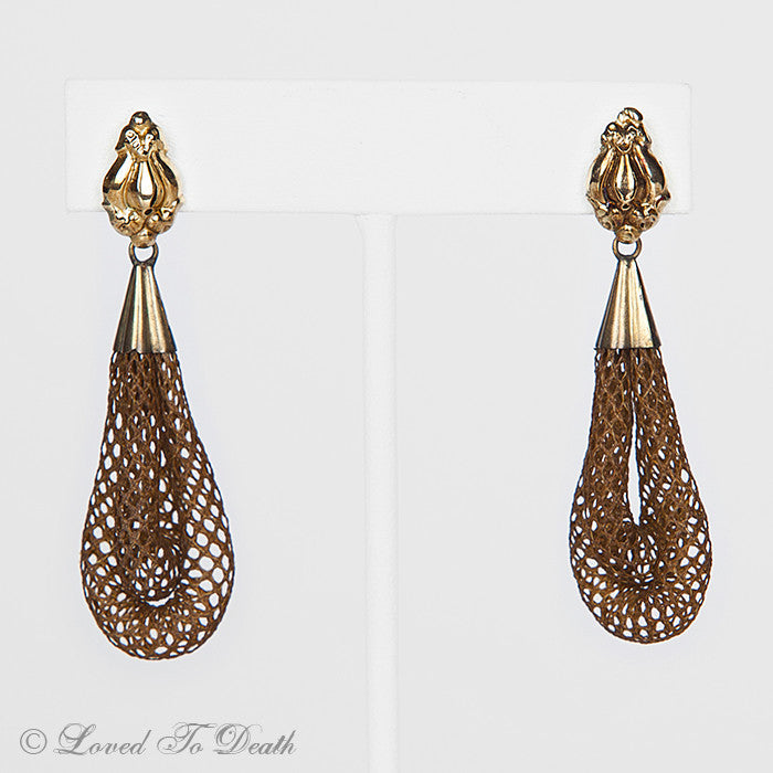 Victorian Mourning 14K Gold Hollow Hair Work Earrings