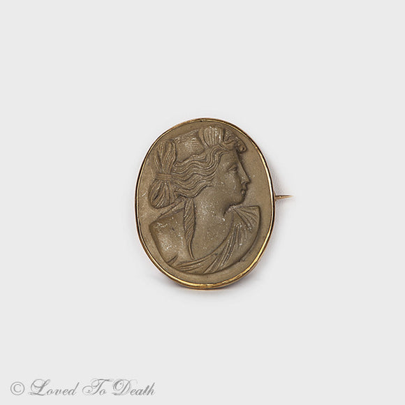 Victorian Edwardian Lava Cameo Brooch