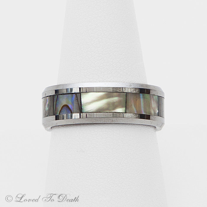 Tungsten Band Abalone Inlay