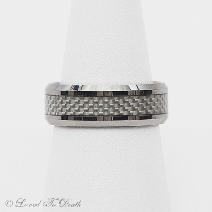Tungsten Band Silver Carbide Stripe on Silver