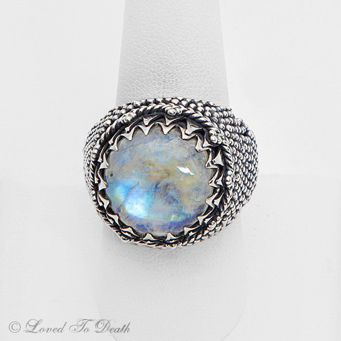 Moonstone Sterling Granulated Globe Ring