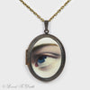 Oval Blue Eye Brass Victorian Inspired Locket