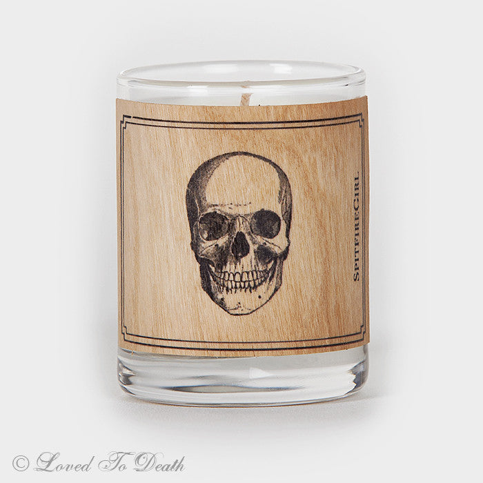 Wood Covered Skull Votive Candle
