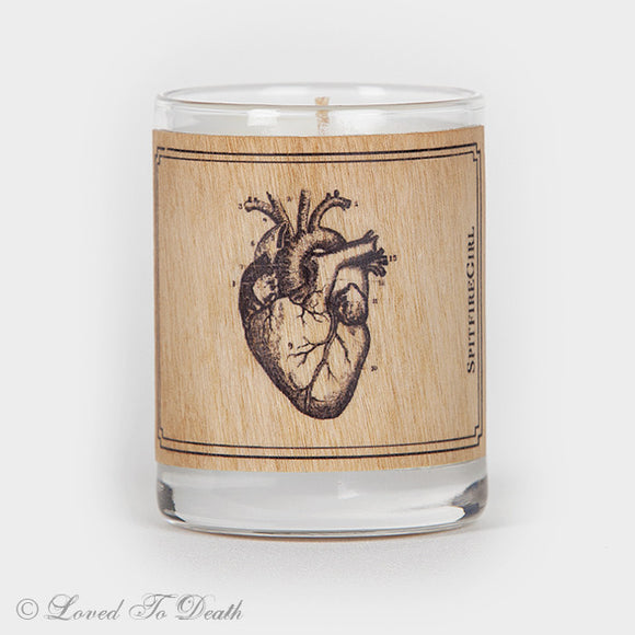 Wood Covered Votive Anatomical Heart Candle