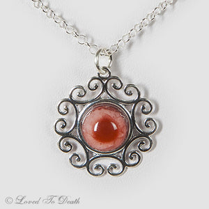 Filigree Taxidermy Albino Eye Sterling Necklace
