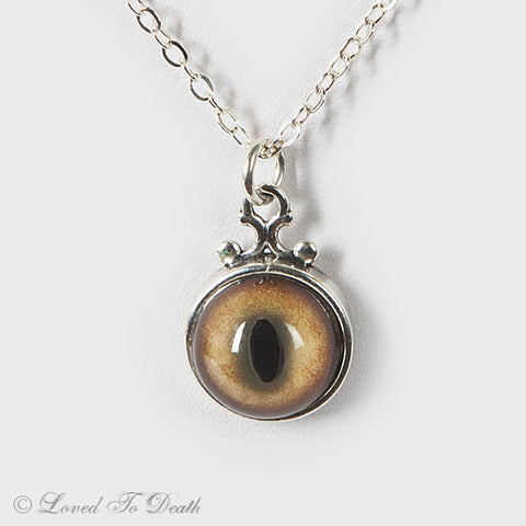 Bobcat Taxidermy Eye Sterling Necklace