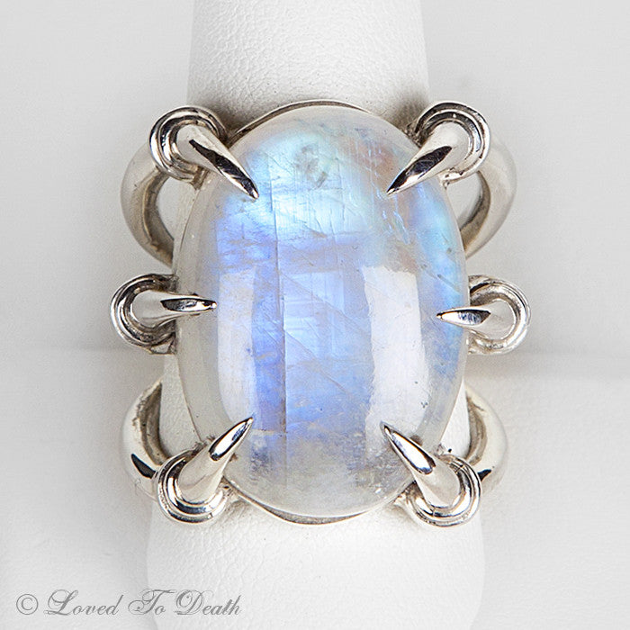 Moonstone Claw Sterling Ring