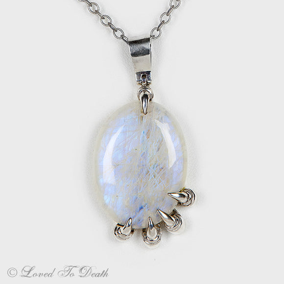 Moonstone Sterling Claw Necklace