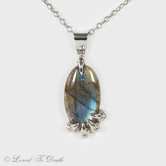 Labradorite Sterling Claw Necklace