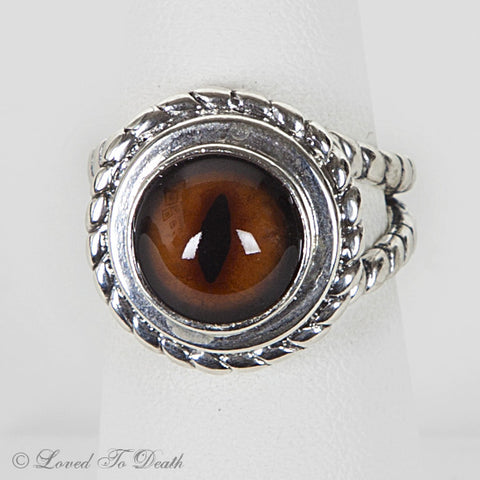 Taxidermy Fox Eye Sterling Ring Split Shank