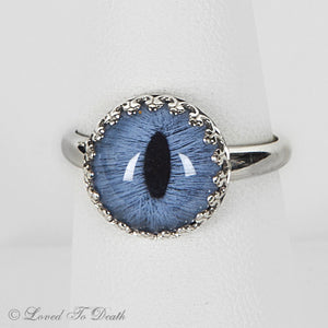 Feline Blue Taxidermy Eye Sterling Prong Setting