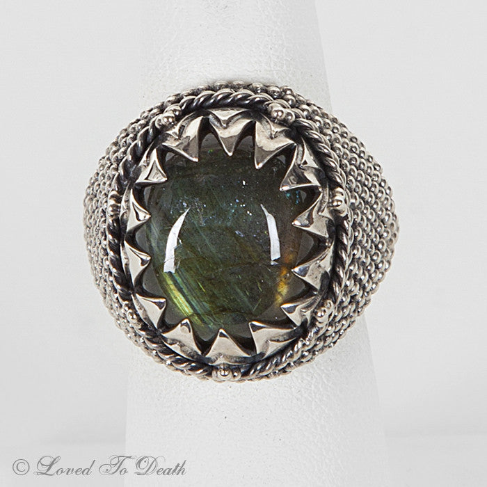 Labradorite Sterling Granulated Globe Ring