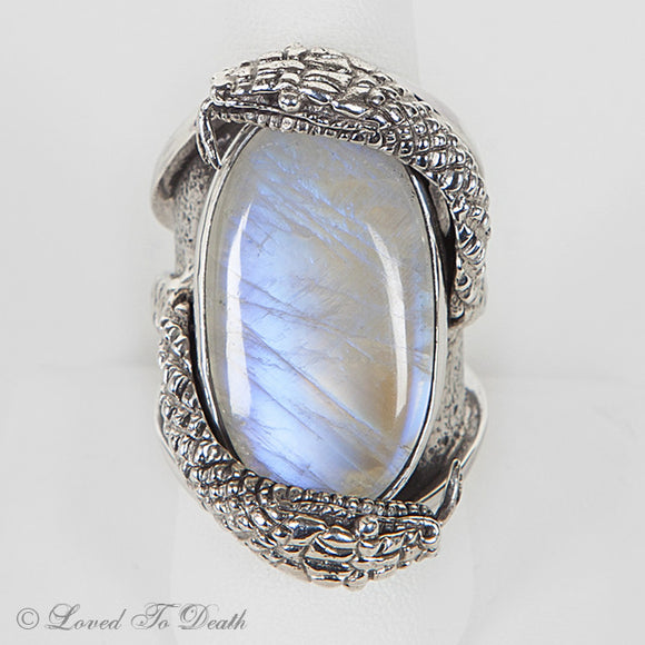 Snake Moonstone Sterling Ring