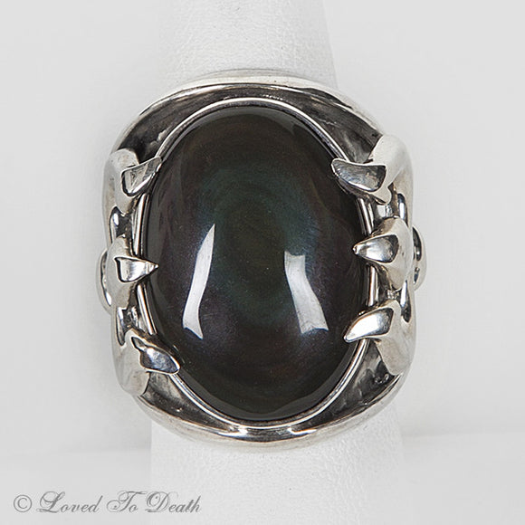 Sterling Silver Trident Rainbow Obsidian Ring