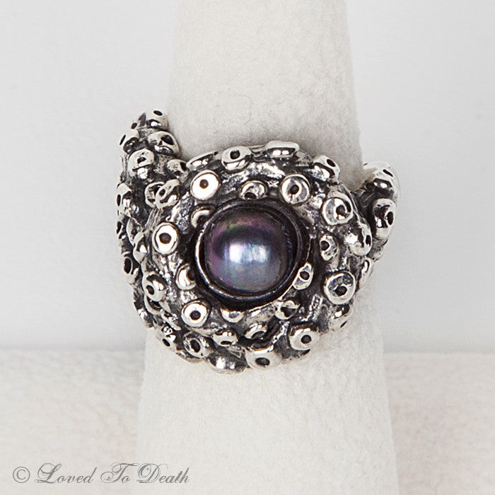 Octopus Tentacle Ring Black Pearl Sterling