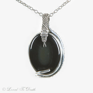 Serpent Snake Rainbow Obsidian Sterling Necklace