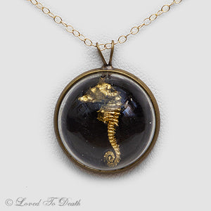 Gold Seahorse Dome Necklace
