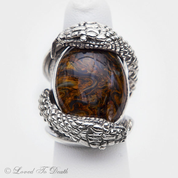 Snake Pietersite (Red)  Sterling Ring