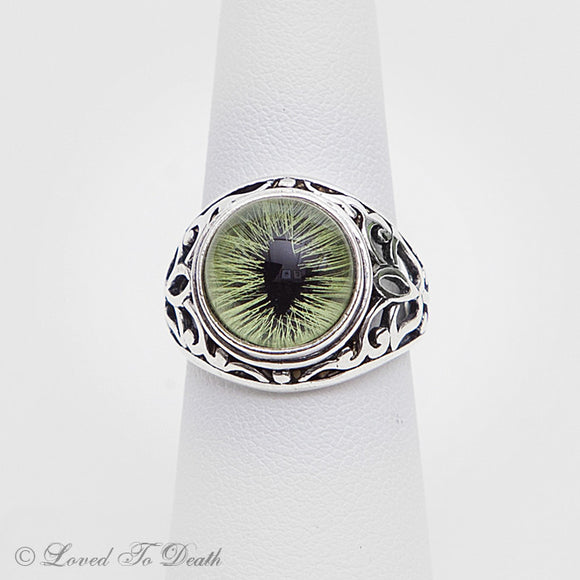 Victorian Inspired Sterling Filigree Green Feline Taxidermy Eye Ring