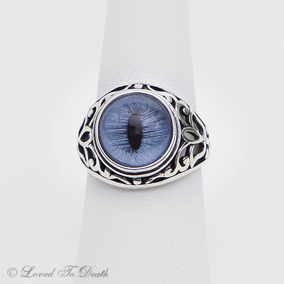 Victorian Inspired Sterling Filigree Blue Feline Taxidermy Eye Ring