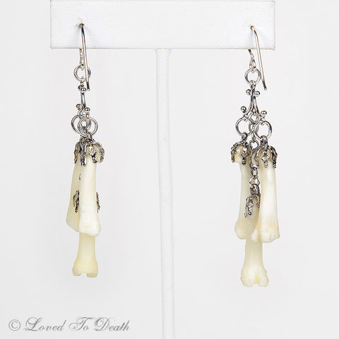 Loved To Death Sterling Triple Drop Bone Earrings