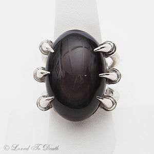 Rainbow Obsidian Claw Sterling Ring