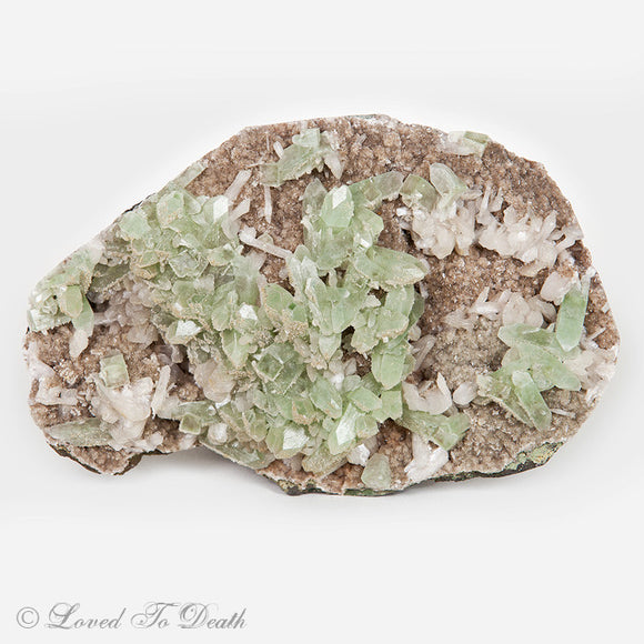 Green Apophylite w/ Calcite Large Cluster