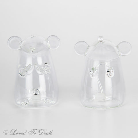 Glass Mouse Salt  Pepper Shakers