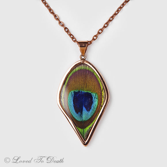Peacock Feather Rose Gold Teardrop Necklace