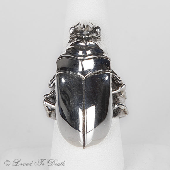Rhino Horned Beetle Sterling Ring